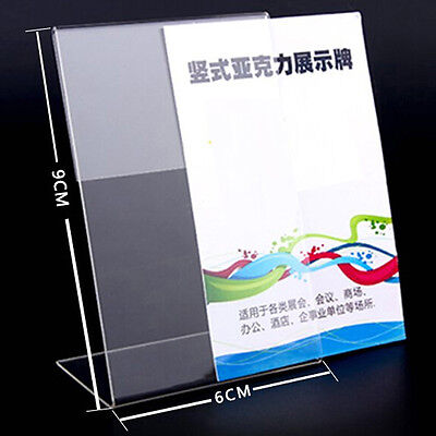 Transparent 10 Pieces L Shape 6x9cm Acrylic Table Sign Price Tag Label Display
