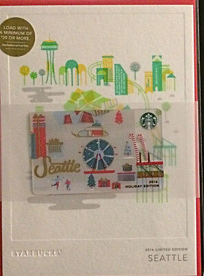 NEW 2016 Starbucks Holiday Christmas Edition Seattle Gift Card