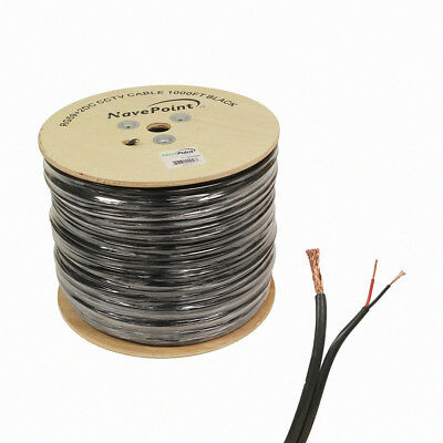 1000ft RG59 Siamese 20AWG 18/2 CCTV Bulk Wire Security Camera Video Cable Black