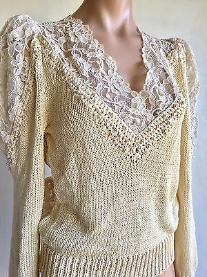 VINTAGE 80s SIMON & STAR HAND KNITS VICTORIAN LACE PEARLS PULLOVER SWEATER
