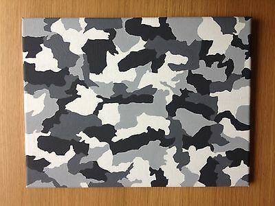 "Original acrylic 11"" x 14"" camouflage style hand painted canvas"