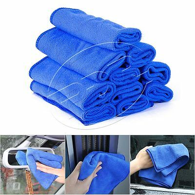 10pc Absorbent Blue Microfiber Towel Car Home Clean Wash Kitchen Washing Durable