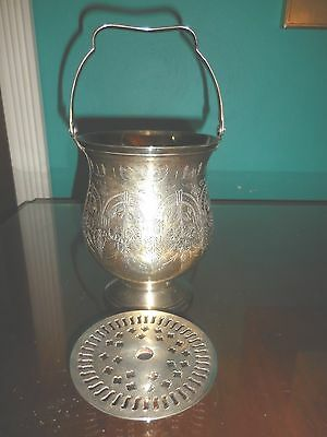 Leonard Silver Plate Chased Bucket Vase With Silver Plate Flower Frog