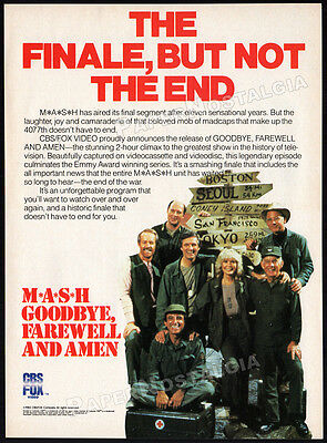 M*A*S*H* - Goodbye, Farewell, and Amen__Original 1983 Print AD / TV promo__MASH