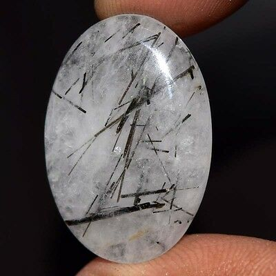 19.75Cts A+ 100% NATURAL BLACK RUTILE OVAL 25X12 Cabochon
