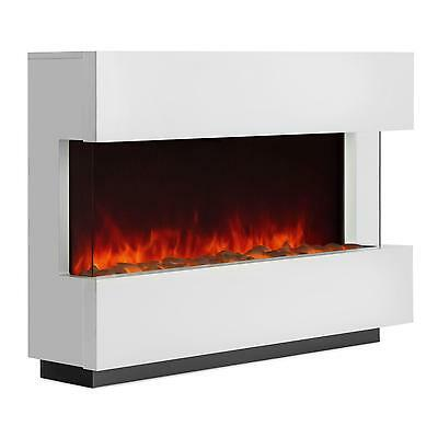 Electric Fireplace Living Room Home Shop Led Bar Heating Fan Glass Wood Indoor