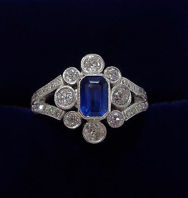 Vintage Platinum, Sapphire and 0.85ct Diamond Cluster Ring - Size N