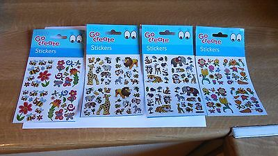 4 Mixed Go Create Craft Packs Of Stickers Scrapbooking Flowers Bee Animals