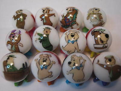 YOGI BEAR MARBLES 5/8 SIZE collection lot + STANDS