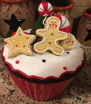 "Gingerbread Cookie Jar 9"" Peppermint Candy Cane CHRISTMAS Kitchen Decor Cupcake"