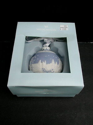 Wedgwood Blue Jasperware Sleigh Ride Ball Ornament w/ Box