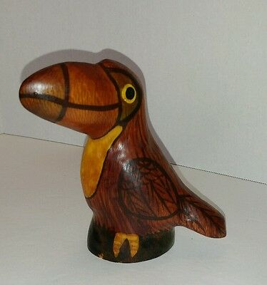 "HAND CARVED WOODEN TOUCAN Statue Figurine Signed 4.5"" tall Painted"