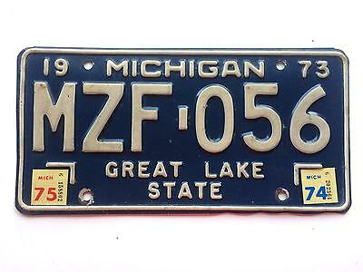 Michigan 1975 1974 1973 Vintage License Plate Garage Old Car Auto Tag Great Lake