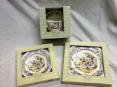 Meeting on the Sand. Brambly Hedge. Cup Saucer 16 cm Plate, 20 cm Plate. Boxed.