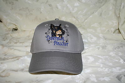 Doberman Pinscher Dog Embroidered On a Grey Structured Hat