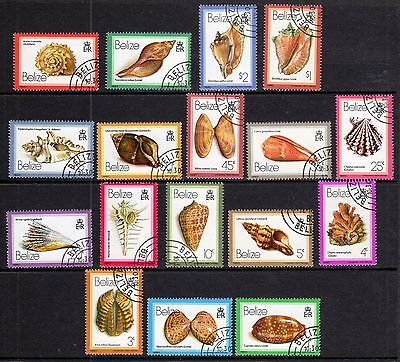 1980 Belize Scott 471-487 Shells Issue Complete Cto Set Never Hinged Fresh