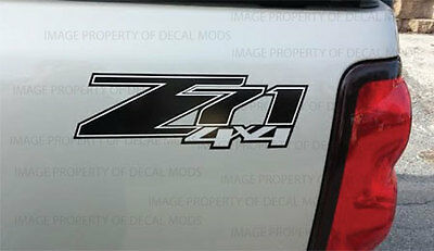 2007 - 2013 Chevy Silverado Z71 4x4 decals - FBLK GM HD black stickers side 4WD