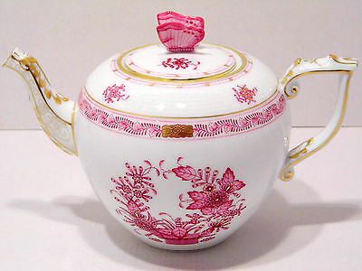 HEREND INDIAN BASKET RASPBERRY TEAPOT,BUTTERFLY LID END,30 fl OZ,BRAND NEW BOXED