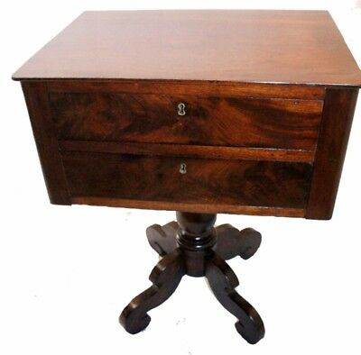 Antique Early 19th C. American Empire Mahogany Commode Nightstand Bedside Table