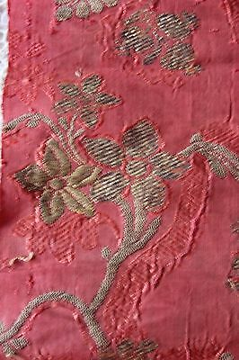"""Lovely Antique French 18thC Silk & Gold Metallic Textile Fabric~16""""LX18""""W~Dolls"""