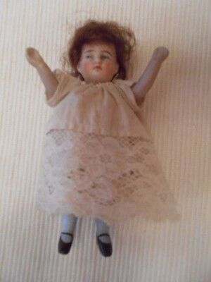 """Antique German Bisque Dollhouse Doll 4"""" Tall Painted Eyes Arms Up Original"""