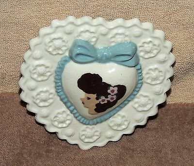Vintage Cleminsons Art Pottery Heart Shaped Wall Pocket Planter Girl Face