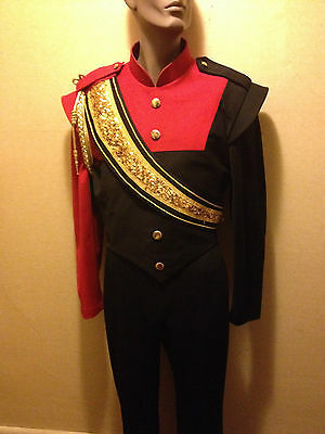 Red & Black Marching Band Jacket with matching gold baldric and cord (Size 42L)