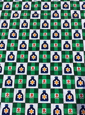 VINTAGE RETRO FLOWER POWER DAISY GINGHAM SQUARES FABRIC FRENCH GERMAN UNUSED 70s