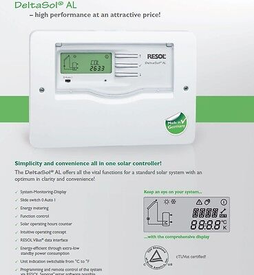 Solar Hot Water Controller-(Certified) RESOL DeltaSol AL Incl. 2 Sensors