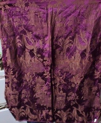 Antique French c1870 Silk & Metallic Woven Chinoiserie Home Dec Textile Fabric