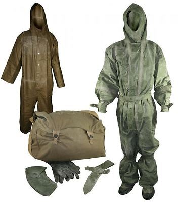 Czech Army Rubber Chemical Suit with Hood and Boot Covers, Liner and Bag