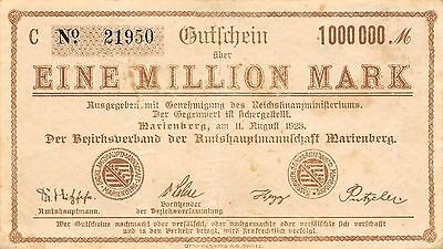 Germany / Marienberg 1  Million Mark 11.8.1923 Serie C circulated Banknote Ger.2