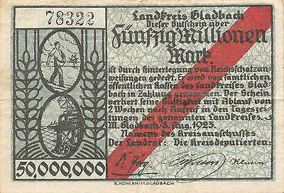 Germany / Gladbach  50 Million Mark  8.8.1923  circulated Banknote Ger.2