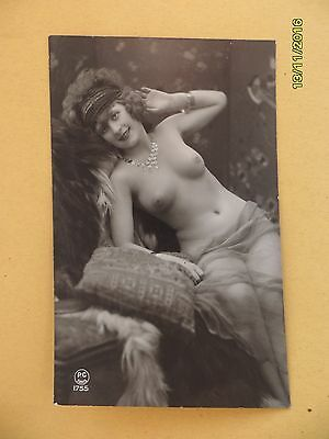 Original 1910's-1920's Nude Risque postcard Pretty Lady #121