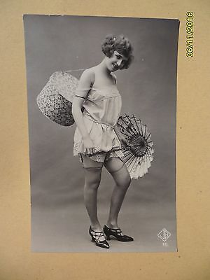 Original French 1910's - 1920's Semi Nude Biederer postcard Lady Stockings #114