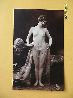 Original French 1910's-1920's Nude Risque Postcard Beautiful Angelic Lady #112