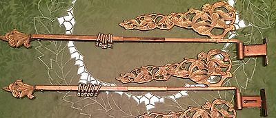 Pair Of Art Deco Swinging Curtain Rods vintage cast metal antique drapery