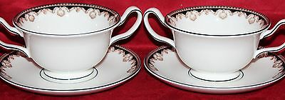 Wedgwood Medici Two Handled Soup Coupes / Bowls And Stands