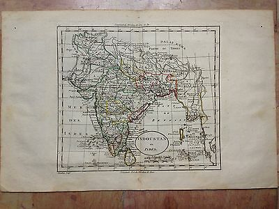 INDIA  XVIIIe CENTURY by BLONDEAU COPPER ENGRAVED MAP ORIGINAL COLORS