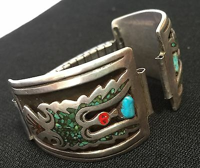 Old Pawn Zuni Sterling Turquoise PEYOTE BIRD Signed L. CLAW Watch Band Tips