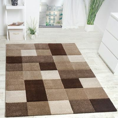 New Rug Modern Classic Design Brown Beige Checked Elegant Rugs Small Large Size