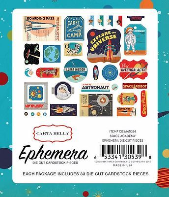 "Carta Bella ""space Academy"" Ephemera Die Cuts 33 Pieces Scrapjack's Place"