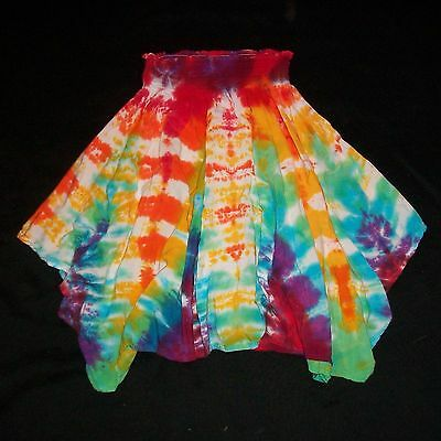 Tie Dye Child's Fairy Skirt Rainbow Rayon Hand Tye Dyed Fits Girls ages 7-teen