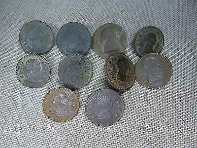 Lot of 10 colonial era buttons. Faces