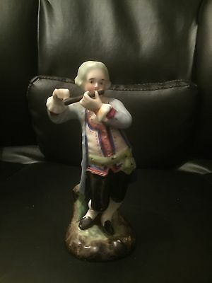 Antique Conte Boehme 18th Century Figurine Man Playing Flute