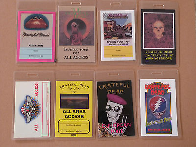 Collection Of 8 Grateful Dead Repro Laminated Backstage Tour Passes