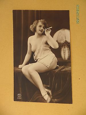 Original French 1910's-1920's Postcard Nude Risque Seductive Lady Smoking #100