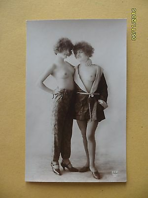 Original French 1910's-1920's Nude Risque Lady Twin Beauties Lesbians #111