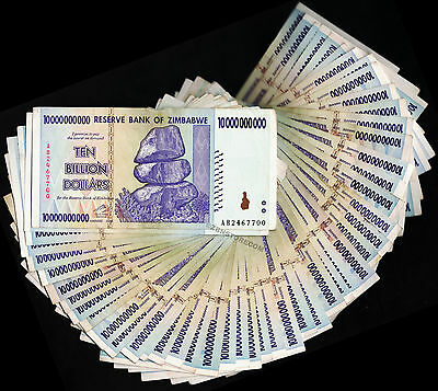 50 x 10 Billion Zimbabwe Dollars Banknotes Bundle AA AB 2008 Currency 50PCS Lot