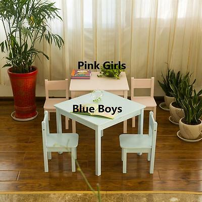 New Kids Wooden 60cm Table and 2 Chair Set (Baby Blue Color)